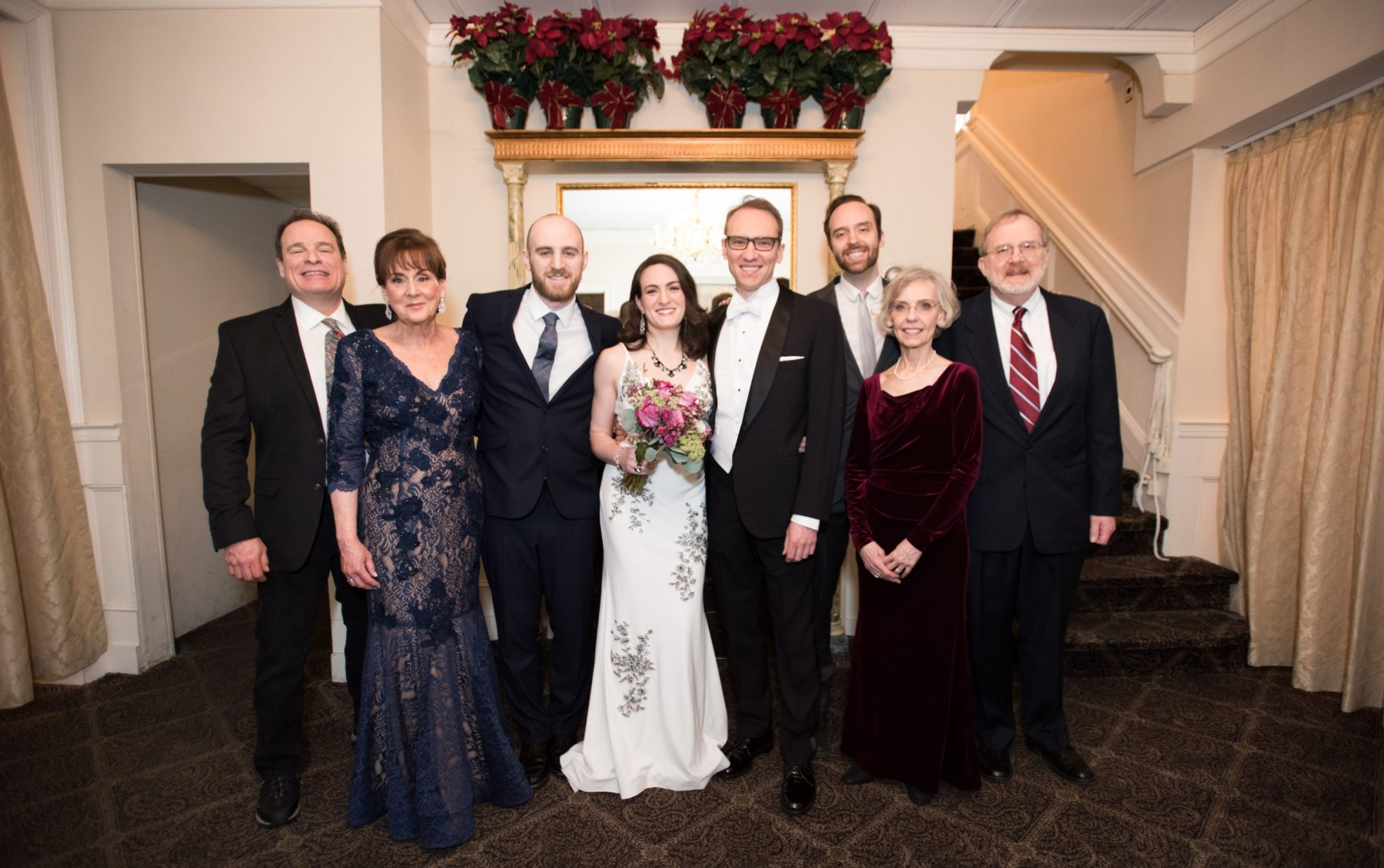 With our parents and our brothers at our wedding!