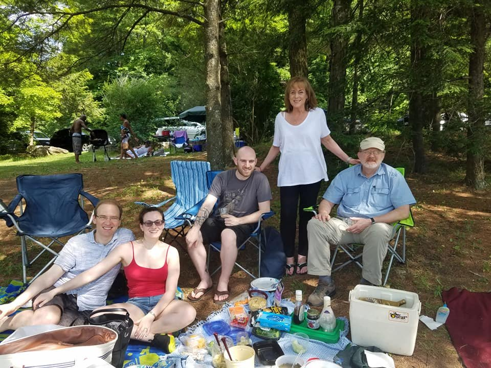 Just prior to the James Taylor concert we attend annually at Tanglewood, we always have a picnic! Here we are with Nina's brother and mom, and Galen's dad.